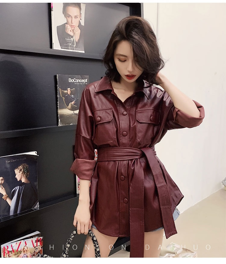 Leather jacket mid-length female new Korean handsome motorcycle PU leather jacket with leather jacket trend women coats enlarge
