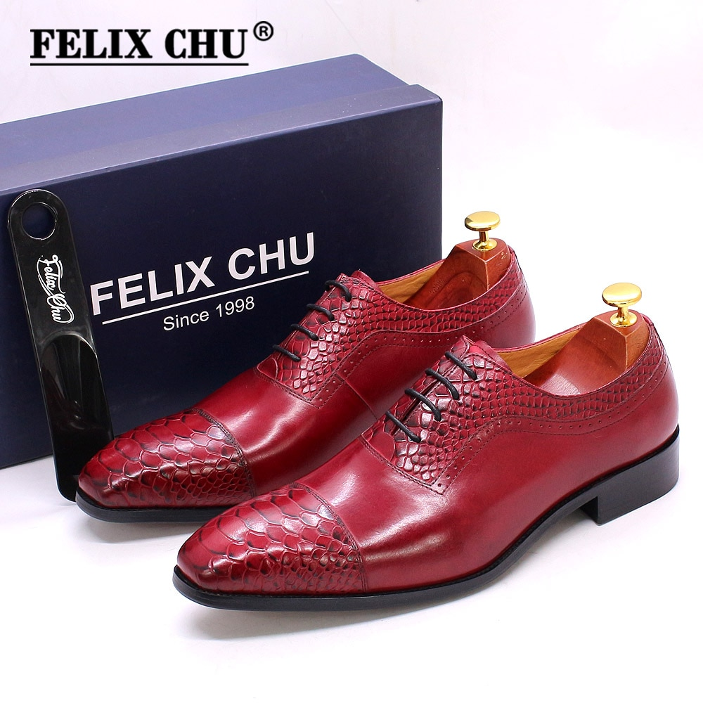 Size 6-13 Mens Oxford Shoes Genuine Leather Python Pattern Cap Toe Red Wedding Shoes Classic Casual Business Dress Shoes for Men