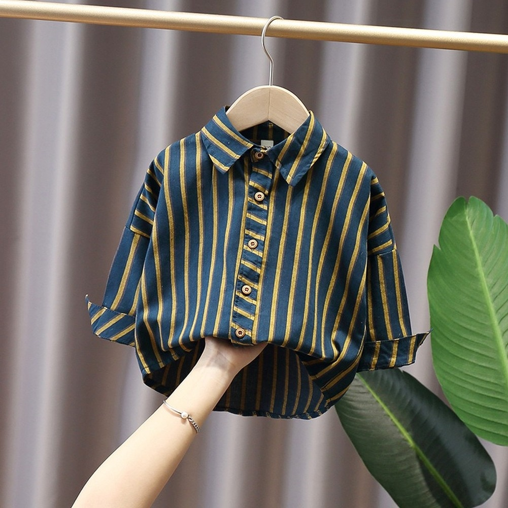 2021 New Spring And Autumn Fashion Vertical Striped Children's Clothing Shirt Children Full Long-Sleeved Tops Thin  Casual Shirt