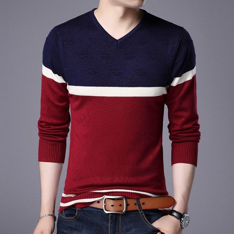 Простой мужской свитер, новинка осень-зима 2021, свитер в европейскую и американскую полоску, мужской тонкий свитер