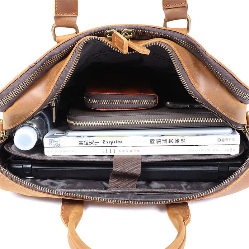 Retro simple men's genuine leather briefcase top layer cowhide women's casual handbag shoulder bag business computer bag