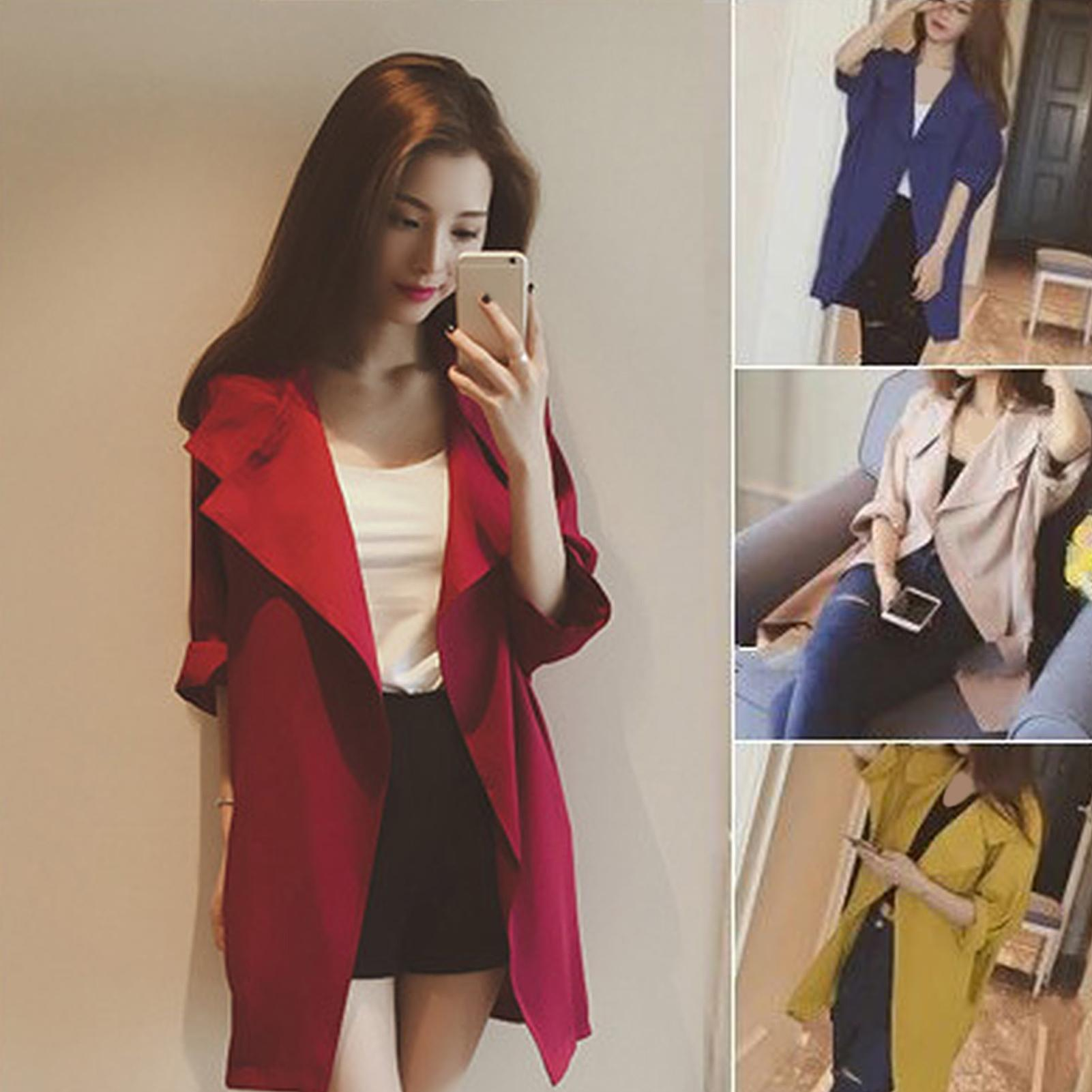 Women Loose Solid Color Large Lapel Three-quarter Sleeve Trench Coat Cardigan