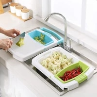 durable kitchen multifunctional thick plastic chopping board sink drain basket cutting