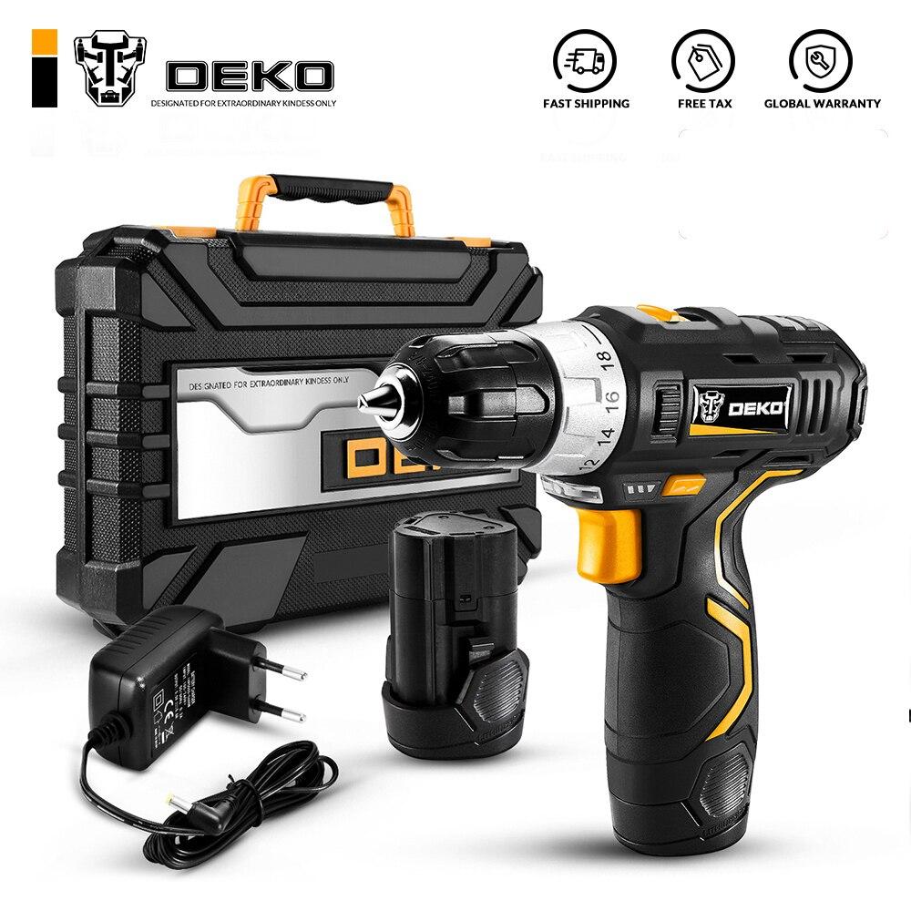 DEKO مفك كهربائي لاسلكي, مثقاب صغير لاسلكي بقوة 12 فولت مزود ببطارية ليثيوم ، 3/8 2 بوصة ثنائي السرعة GCD12DU3