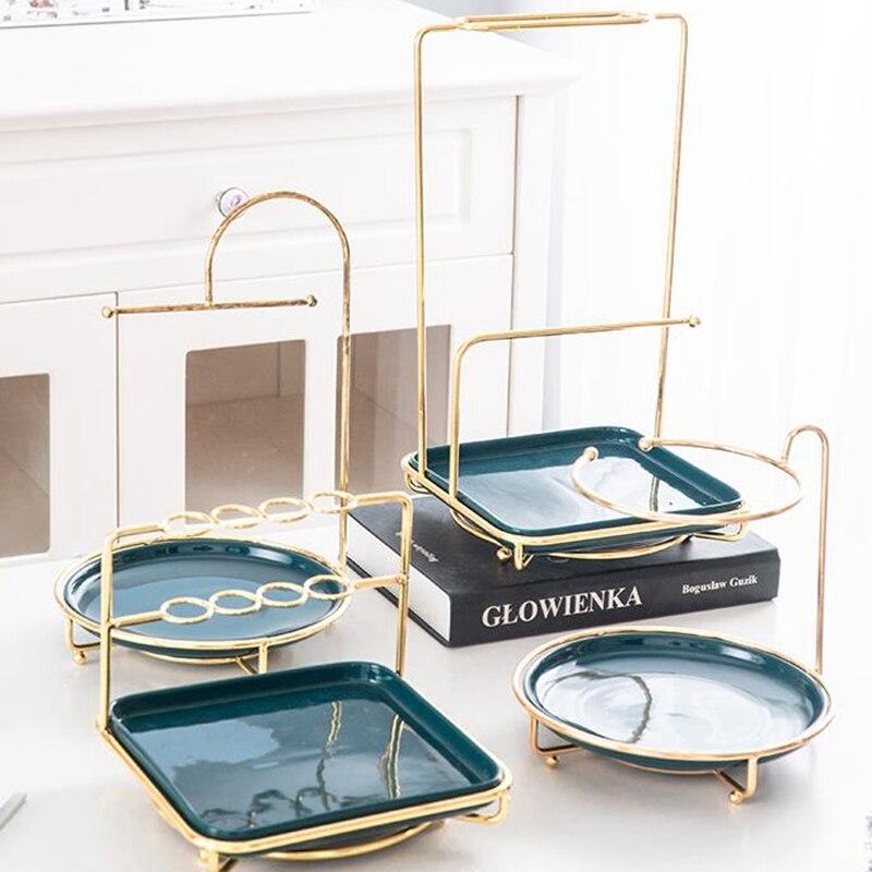 Présentoir nordique créatif de bureau   En métal, bijoux et cosmétiques, étagère commode en céramique, plateau de rangement pour bagues, rouge à lèvres, support de présentoir