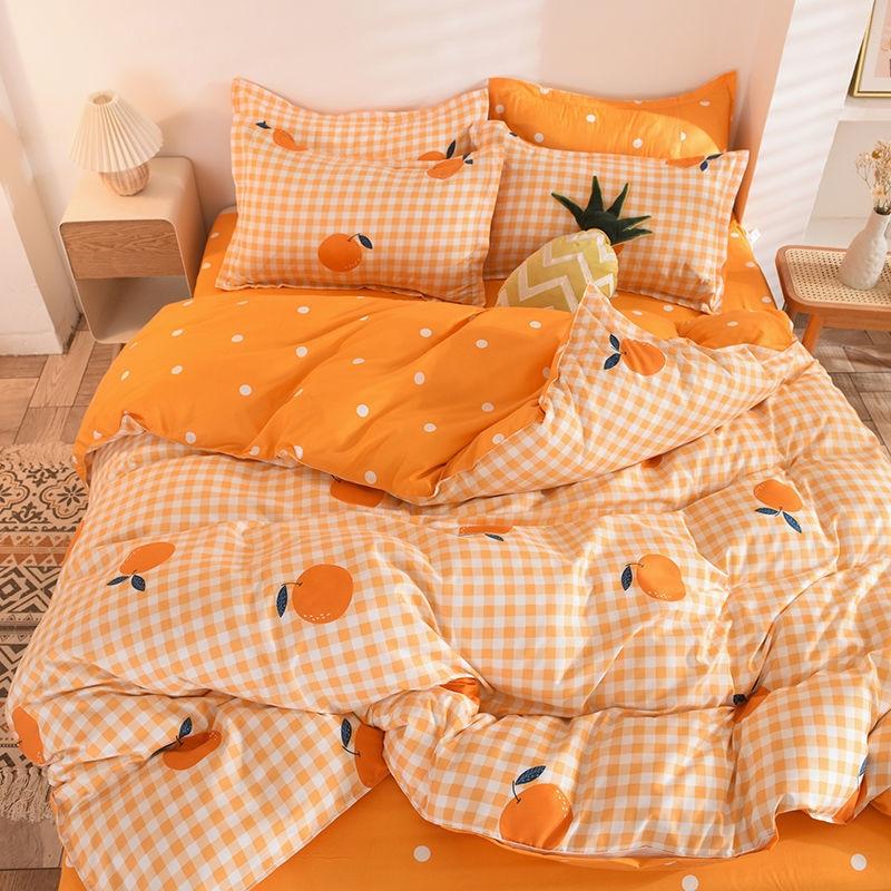 Orange Bedding Set Printed Bed Linen Sheet Plaid Duvet Cover 240x220 Single Double Queen King Quilt Covers Sets Bedclothes