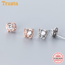 Женские серьги-гвоздики в виде слона Trusta, из 100% серебра 925 пробы, с фианитами, для девочек-подростков, DS1707