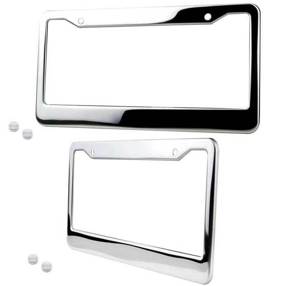 2Pcs Chrom Edelstahl Silber License Plate Frame Tag Abdeckung + Schraube Cap auto platten