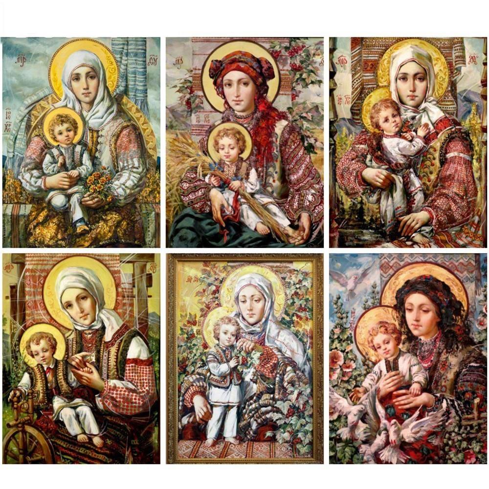 5D DIY Diamond Painting Diy Square Full Diamond Embroidery Icon Religion Rhinestones Cross Stitch Kits Mosaic Handicrafts