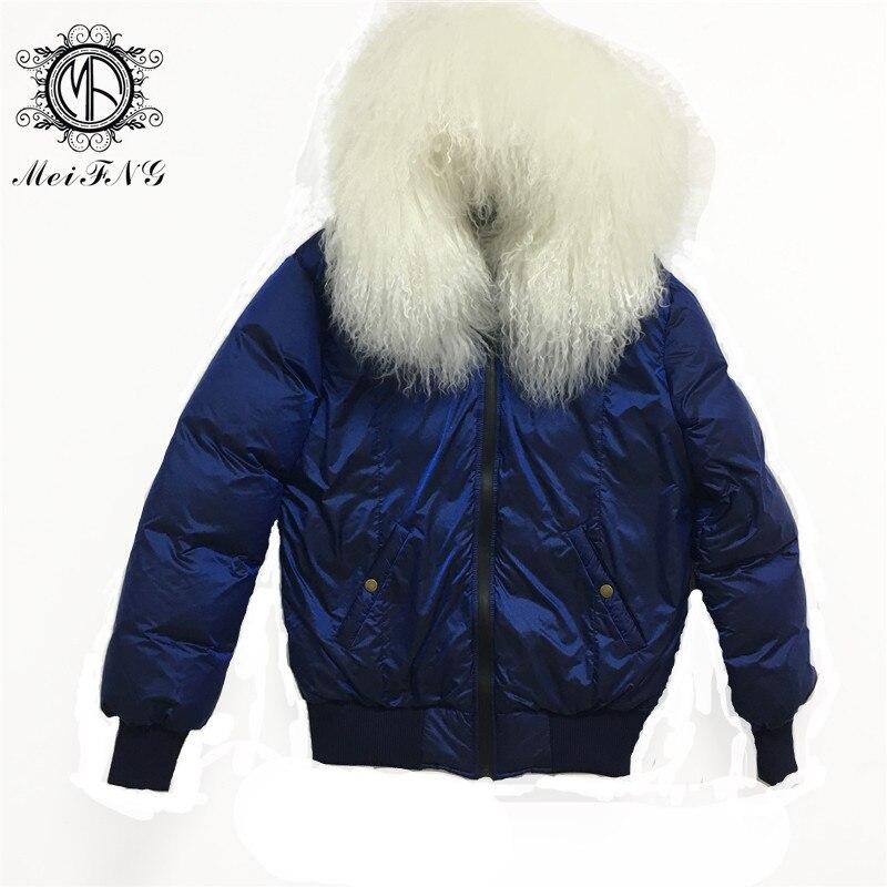 ブルーダウンジャケットショート春毎日防水女性のジャケット迷彩ブルーライナーとベージュホワイトビーチウールの毛皮の襟 S-3XL