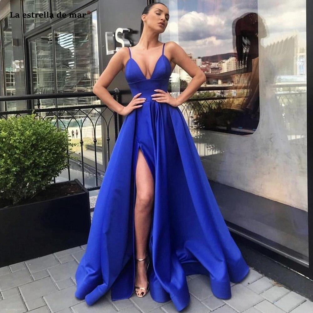 Vestidos de fiesta azul real con cuello en V y tirantes finos,...