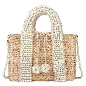 New Ladies Handbags Pearl Handle Woven Straw Bag Fashion Solid Color Women Shoulder Bag Bohemian Vacation Beach Crossbody Bag