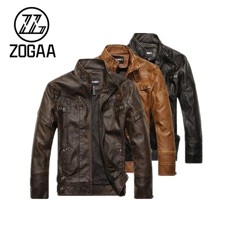 ZOGAA الرجال دراجة نارية سترات من الجلد العلامة التجارية الرجال الخريف الشتاء الصوف سترة جلدية Jaqueta دي كورو الذكور
