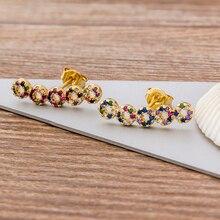Fashion Bohemia Copper Zircon Earrings for Women Trendy Five Rings CZ Stud Earrings For Women Party Wedding Jewelry Gift
