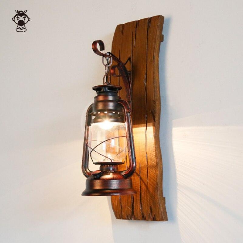 Artesanal de madeira maciça ferro vidro sombra querosene lâmpada parede antigo retro industrial país do vintage mediterrâneo cavalo arandela