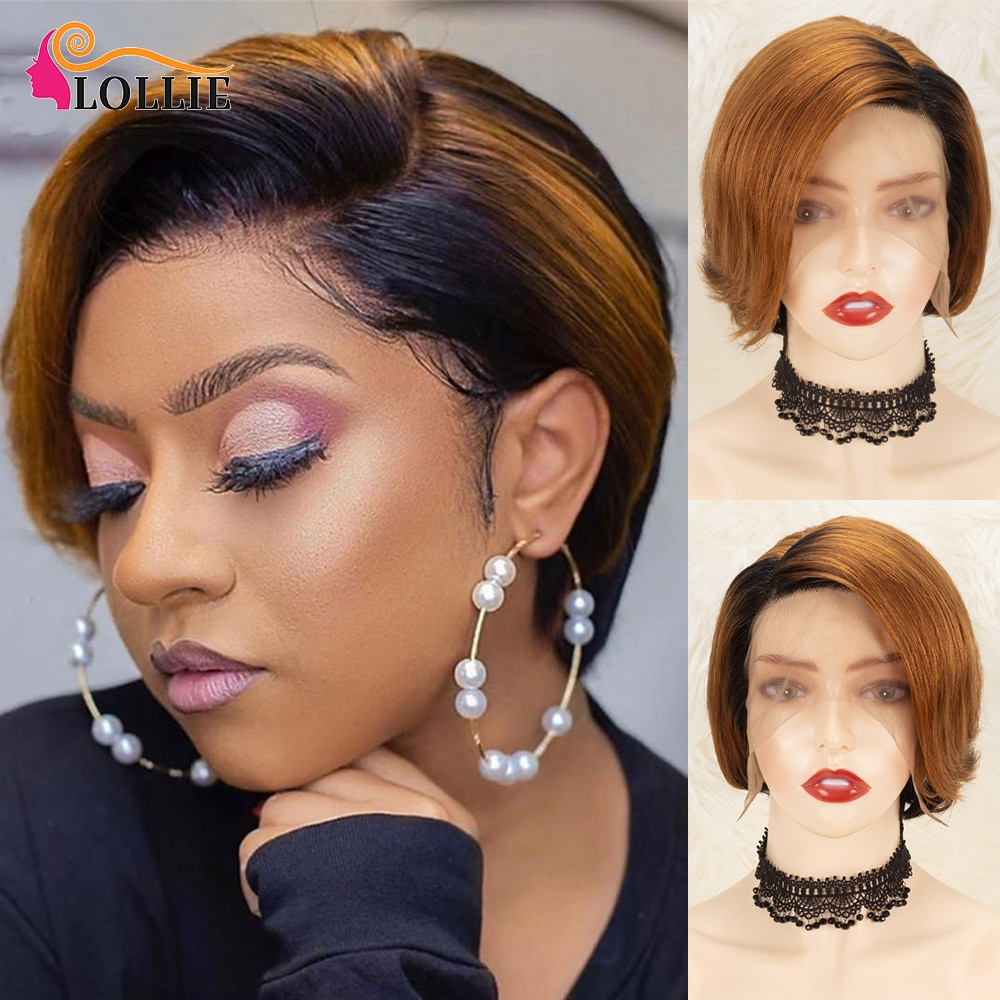 Short Pixie Cut Human Hair Wig Bob Straight Wig Part Lace Human Hair Wig Ombre Blonde Color Side Part Lace Wigs For Black Women