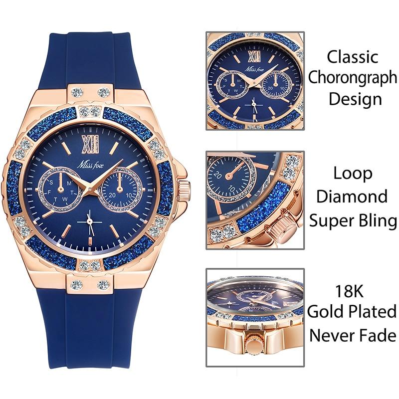 MISSFOX Fashion Womens Watches Top Brand Luxury Wristwatch Quartz Clock Blue Watch Women Waterproof Chronograph Relogio Feminino enlarge