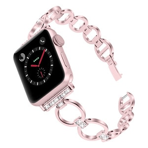Watchband for Apple Watch Band 40 44 38 42 MM Bling Crystal Metal Bracelet Diamond Strap for iWatch Series 5 4 3 2 1 Wristband