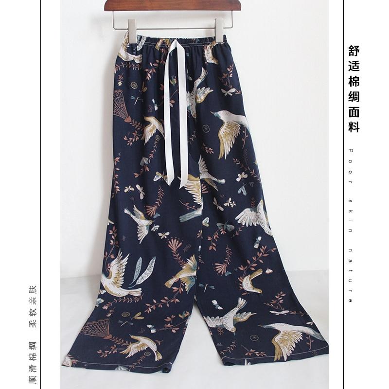 New Summer Sleep Wear for Women Pajama Printing Loose Sleeping Pants Full-Length Pants Spun Rayon Lo