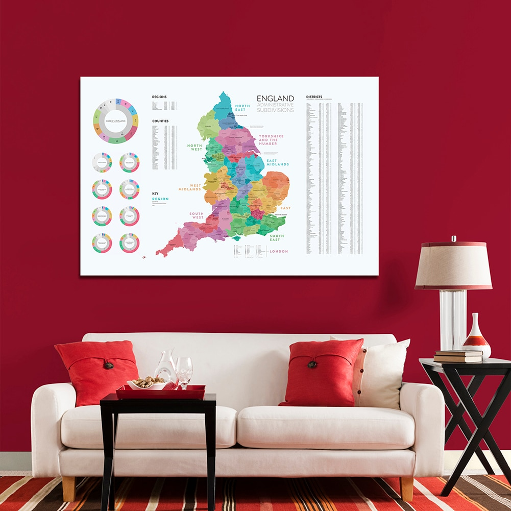 150*100 Cm Map of The England Administrative Subdivisions Detailed Regions Non-woven Canvas Poster Home Decor School Supplies
