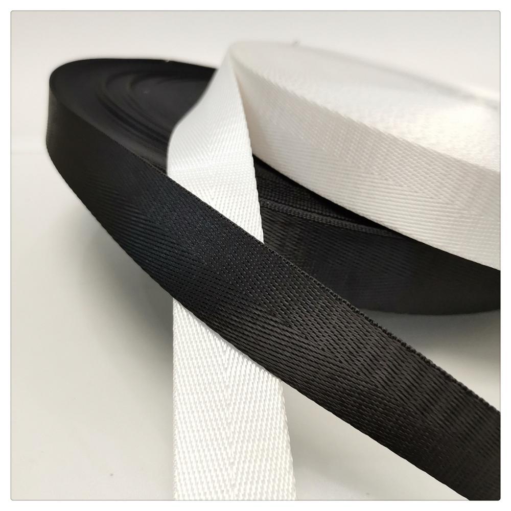 20-50mm White Black Ribbon Webbing Nylon merceri Knapsack Sewing Bag Belt Accessories Outdoor seat belt bias tape noen eubanks