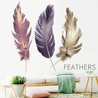 colorful flying feather art adhesive wall stickers home decor living room bedroom decoration wallpaper diy wall sticker