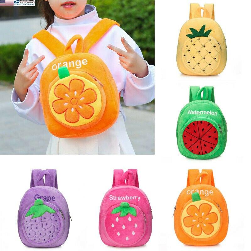 2020 mais novo quente criança meninas adorável dos desenhos animados morango abacaxi melancia limão uva brinquedos de pelúcia mochila do jardim de infância