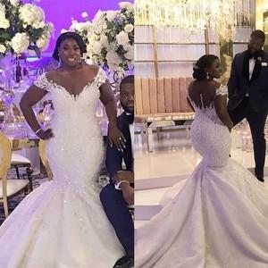 Sheer Scoop Short Sleeves Lace Mermaid Wedding Dresses Beading Custom African Fashion Long Bridal Gowns Wedding Wear Beading