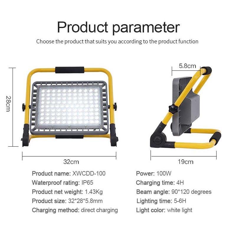 Super Bright 100W Led Flood Light Outdoor Rechargeable LED Floodlight Spotlight IP65 Waterproof LED Street Lamp Landscape Lights enlarge