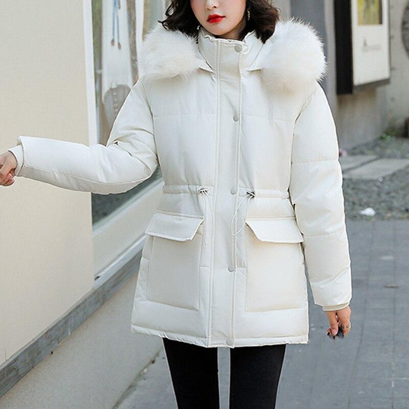معاطف شتوية جديدة للنساء من القطن محشو بالفرو جاكيت بقلنسوة برباط غير رسمي سترة دافئة سميكة للثلج ملابس خارجية للثلج