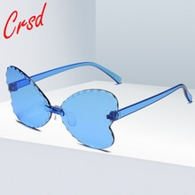 CRSD 2020 Candy Color Rimless Sunglasses Shades UV400 Vintage Eyewear Lovely Butterfly Oculos Mascul