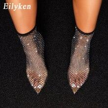 Eilyken Nieuwe Ontwerp Crystal Rhinestone Mesh Stretch Stof Sok Laarzen Mode Pvc Transparante Puntige Teen Schoenen Sexy Hoge Hakken