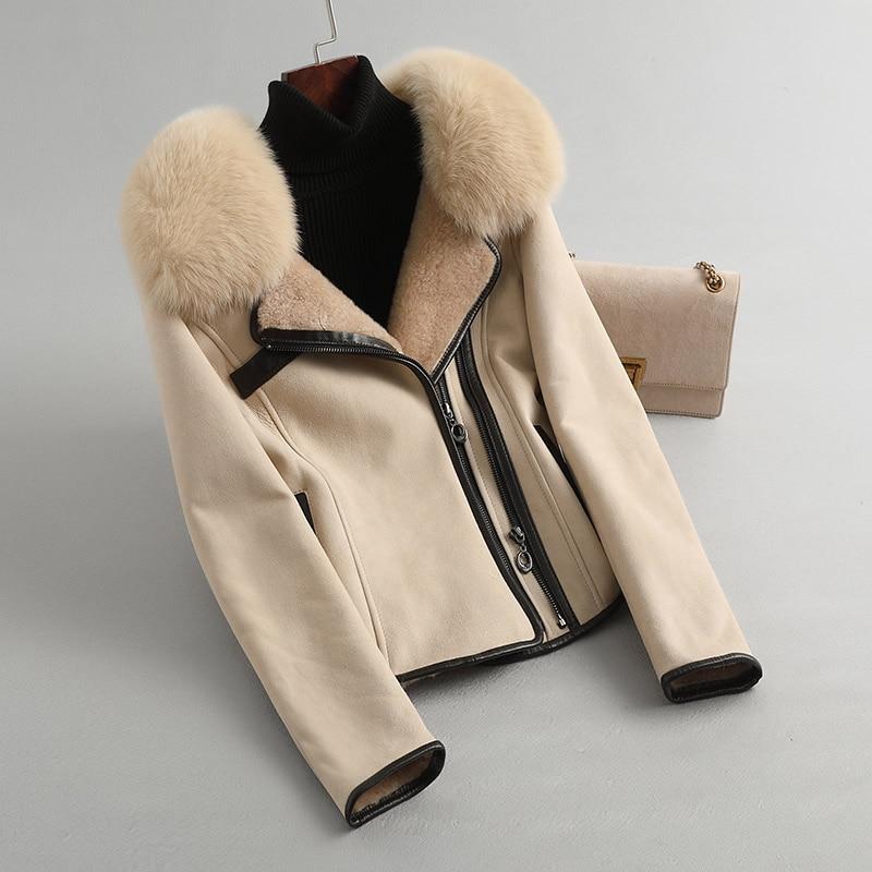 حقيقي طبيعي حقيقي جلد الإناث سترة الثعلب طوق الشتاء الصوف معطف ملابس حريمي 2020 الكورية مزدوجة الوجه الفراء