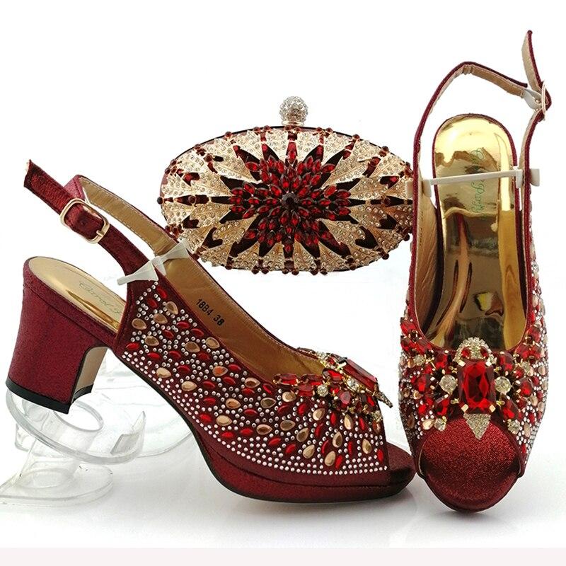 Conjunto de zapatos de color rojo vino para fiesta de boda africana, vestido de encaje granate, envío gratis, bolsa para zapatos, SB8444-4