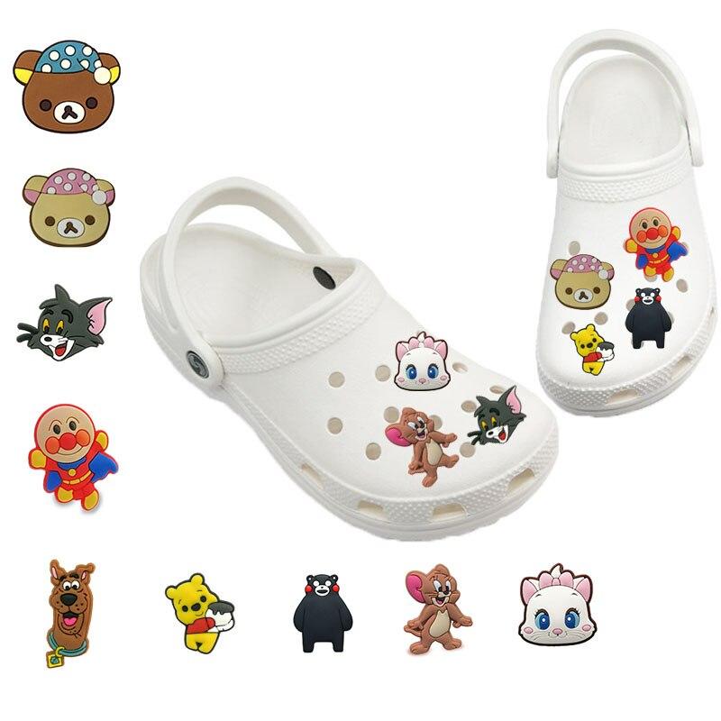 1-5pcs קלאסי קריקטורה חמוד חתול כלב דובים Jibz עבור קרוק קסמי נעלי קישוט אביזרי PVC נעל קסמי ילדה ילד ילדי מתנה