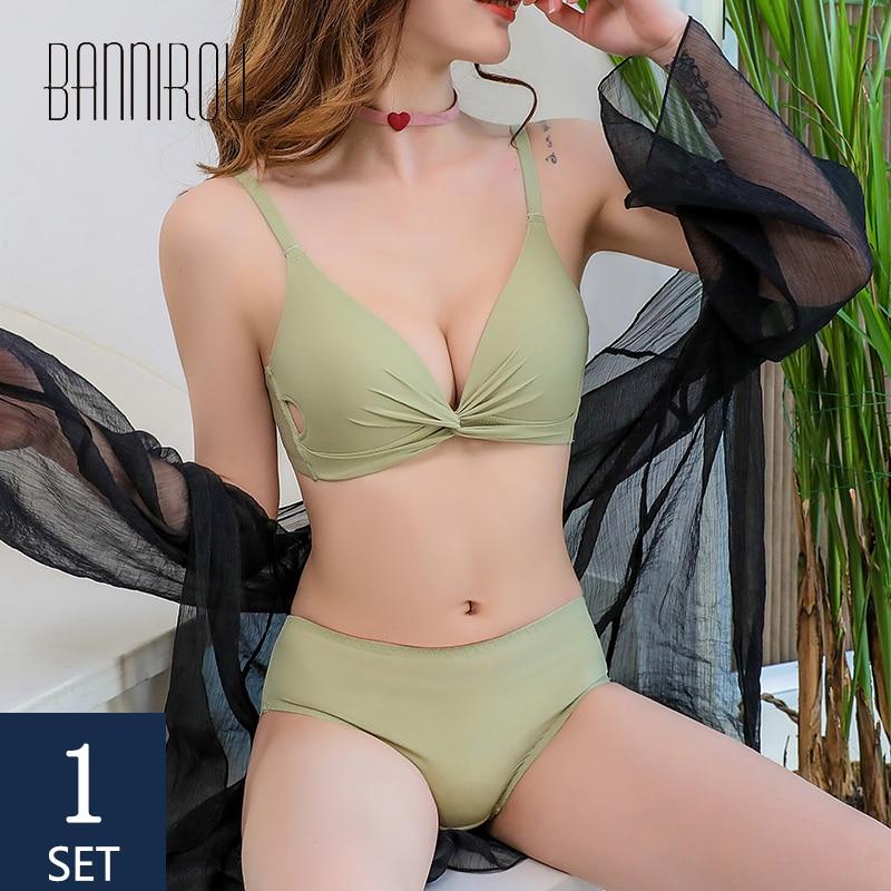 BANNIROU Lingerie Woman Seamless Bra Brief Sets Bralette Active Bras Strapless Wire Free Underwear For Shipping