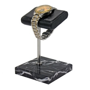 Natural Marble Watch Display Stand Black Crocodile Grain Leather Silver Support Rod Watch Bracelet Jewelry Storage Rack