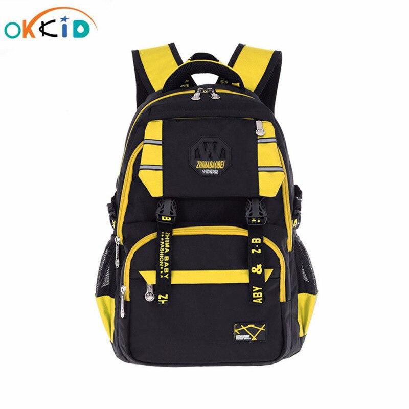 OKKID school bags for teenage boys girls kids waterproof lightweight school backpack yellow blue green sports backpack book bag