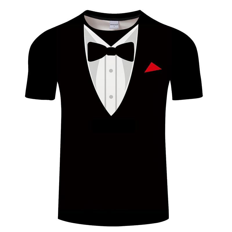 Bow Tie 3D T shirts Summer Men T shirt Tuxedo Retro Tie Suit 3D Print Tshirt Casual Short Sleeve Streetwear Funny Fake Suit Tops