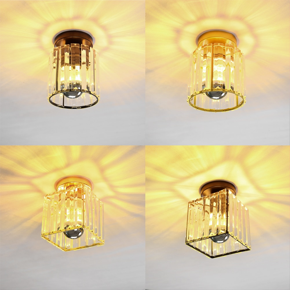 Modern Led Ceiling Lights Crystal Lampshade Balck Gold Living Room Bedroom Modern Round Square Decorative Ceiling Lamp E27 round square led ceiling lights for living room lights bedroom home white and black iron acrylic modern led ceiling lamp fixture
