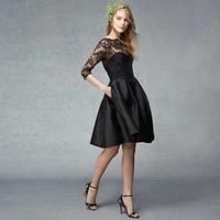 three quarter sleeves black lace short 2018 new fashion taffeta a line knee length handmade party prom gowns bridesmaid dresses