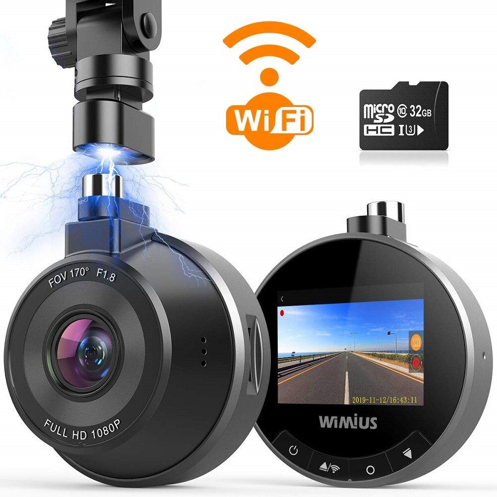 Cámara WiFi para coche DVR Dash HD Real Gran Angular 1080P 170 con Sensor G modo aparcamiento cámara con grabadora para coche con tarjeta SD 32G
