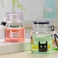 cute cat glass water bottle with straw creative fashion cat pattern water cup for student girls leak proof drinkware