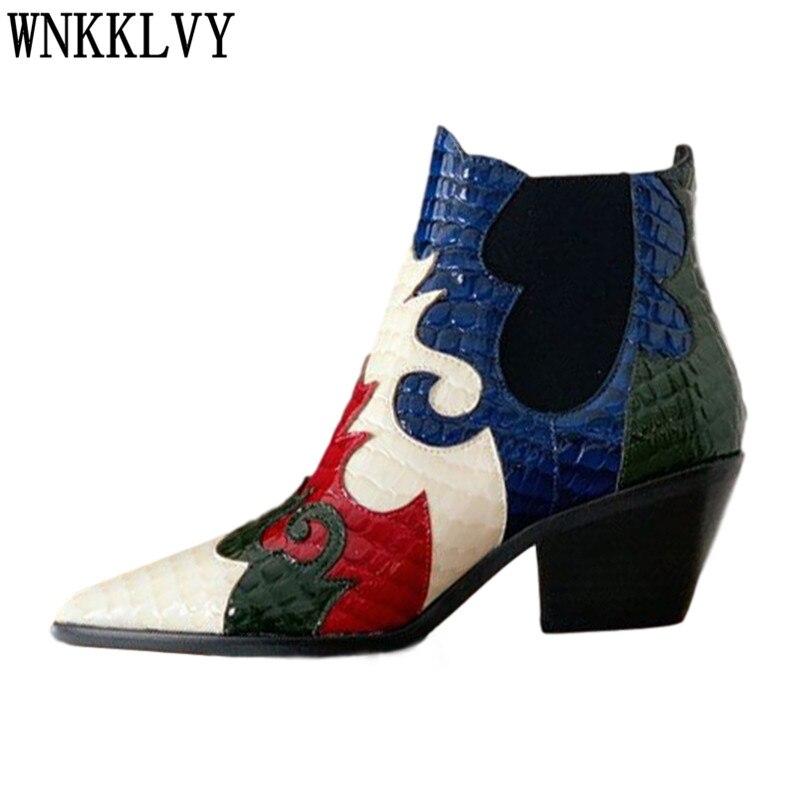 متعدد الألوان أشار تو الكاحل بوتاس النساء مكتنزة عالية الكعب جلد طبيعي المرقعة أحذية بوت قصيرة الإناث قبعات رعاة البقر الغربية الأحذية