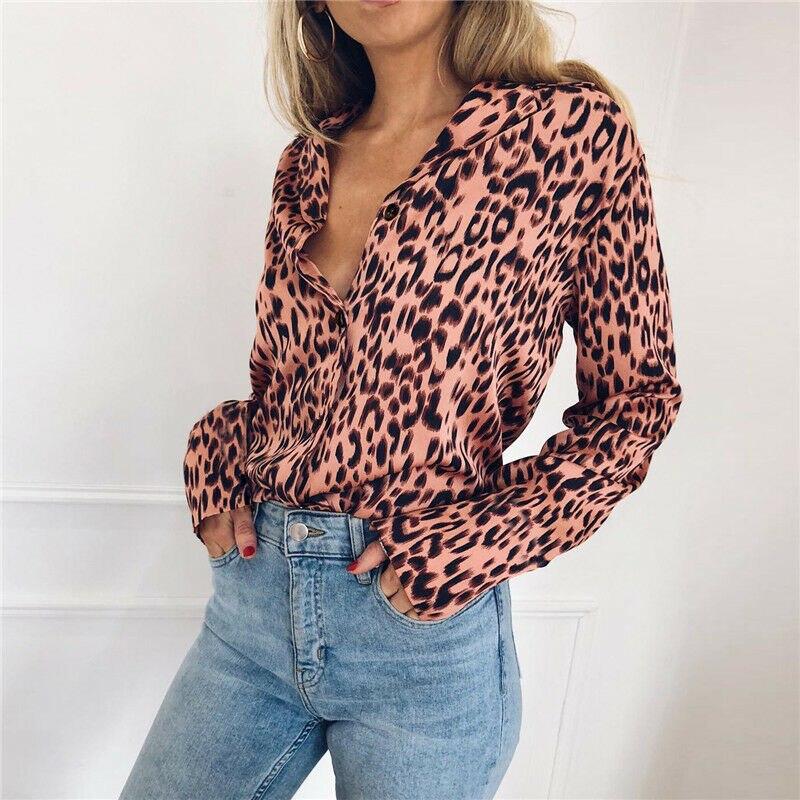 Camisa do Leopardo Das Mulheres da forma OL V Pescoço Elegante Manga Comprida Solta Top Partido Streetwear Blusa chemise femme Dames Plus Size nova