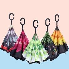Simanfei chinois inversé parapluie pluie femmes Parasol soleil UV inversé parapluie enfants fleur noir grand clair parapluies hommes enfants