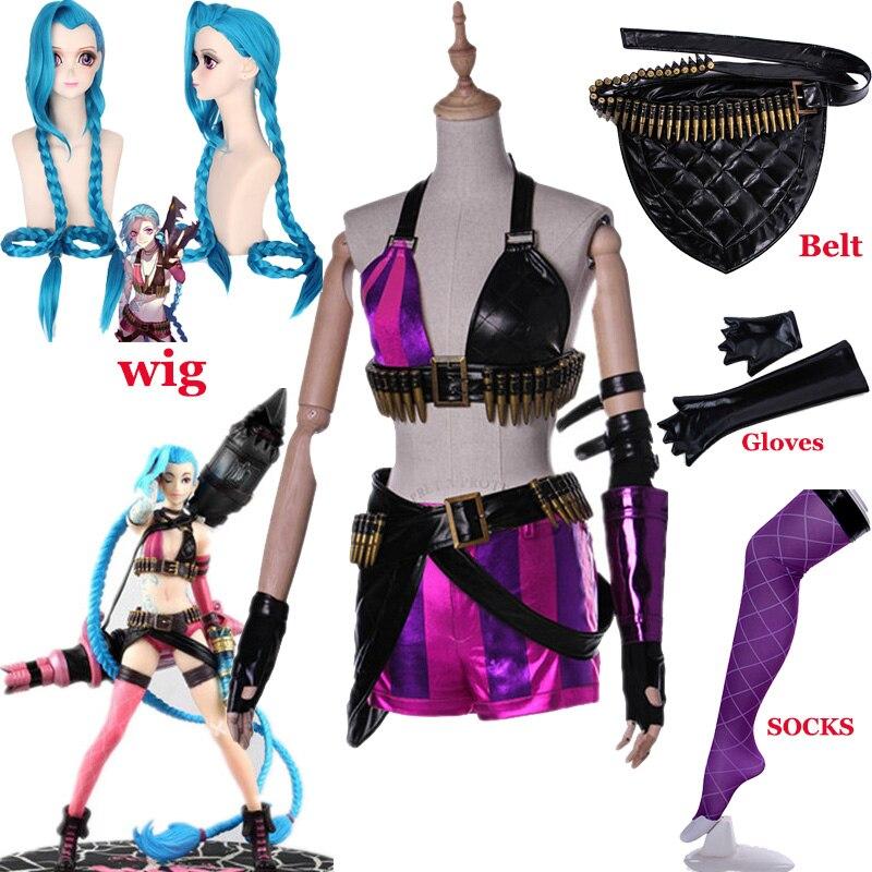 حار! لعبة LoL Crit Loli Jinx تأثيري حلي Jinx الأصلي الجلد السحري زي الأزرق الباروكات الشعر للنساء الفتيات ملابس الحفلات