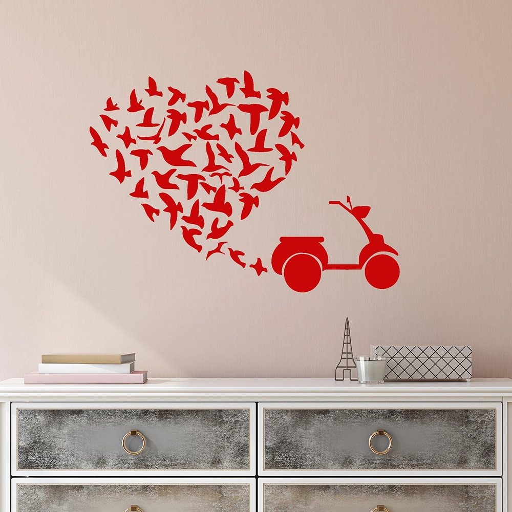 Bandada de pájaros pegatinas de pared para dormitorio Scooter amor romántico corazón vinilo pared calcomanía decoración sala de estar autoadhesivo w428