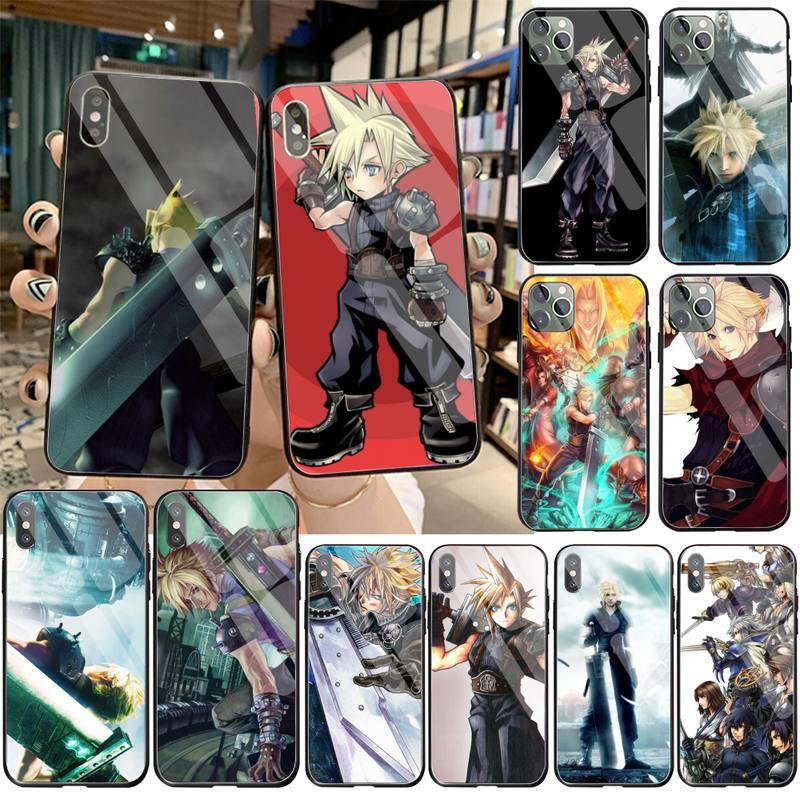 Final Fantasy VII FF7 Anime teléfono caso de vidrio templado para iPhone 11 Pro XR XS MAX 8X7 6S 6 Plus SE caso De 2020