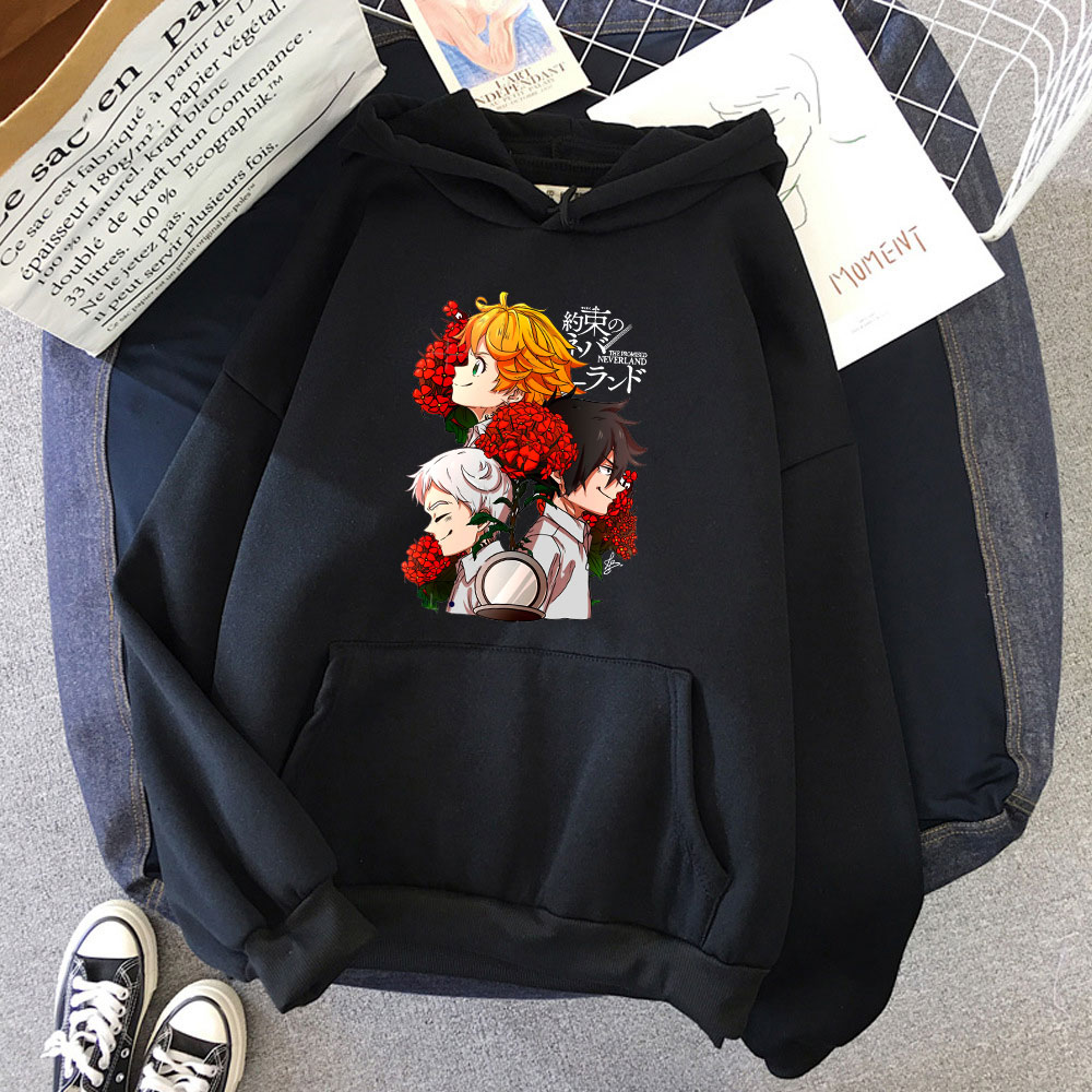 Весенняя Популярная Женская толстовка с рисунком и японским аниме принтом Neverland, Женский Повседневный пуловер, милые толстовки с длинным ру...